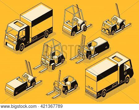 Commercial Transport And Hydraulic Loading Machines Black Line Art, Isometric Vector Set. Cargo Lorr