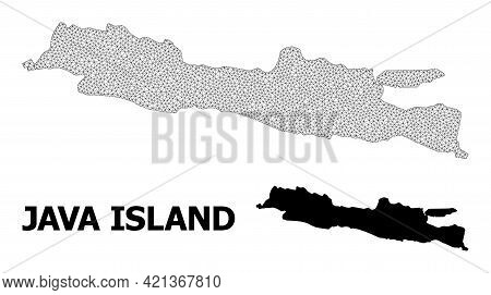 Polygonal Mesh Map Of Java Island In High Resolution. Mesh Lines, Triangles And Dots Form Map Of Jav