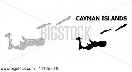 Polygonal Mesh Map Of Cayman Islands In High Resolution. Mesh Lines, Triangles And Points Form Map O