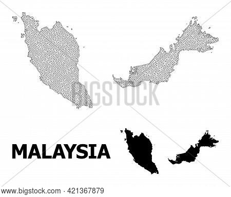 Polygonal Mesh Map Of Malaysia In High Resolution. Mesh Lines, Triangles And Points Form Map Of Mala
