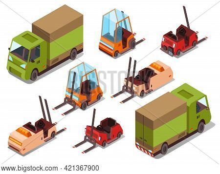 Isometric Loader Trucks Vector Illustration Isolated Icons Of Warehouse Forklift Trucks And Logistic