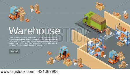 Warehouse Isometric 3d Vector Illustration Of Logistics Transport And Delivery Vehicles. Isometric W