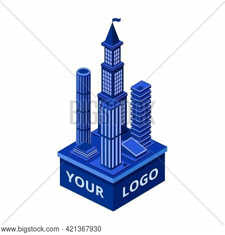 Vector Isometric Modern Skyscraper With Your Logo Space. Urban Architecture Construction Element, Co