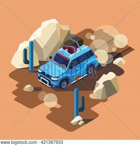 Vector Isometric Safari Car Riding Through Dusty Desert Cactus Landscape. Blue Offroad Vehicle Adven