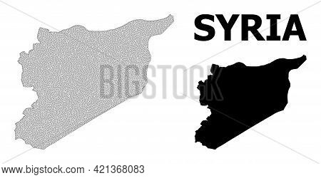 Polygonal Mesh Map Of Syria In High Resolution. Mesh Lines, Triangles And Dots Form Map Of Syria. Hi