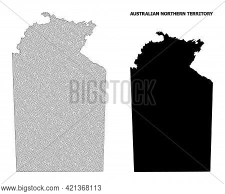 Polygonal Mesh Map Of Australian Northern Territory In High Detail Resolution. Mesh Lines, Triangles