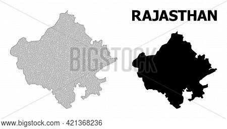 Polygonal Mesh Map Of Rajasthan State In High Resolution. Mesh Lines, Triangles And Dots Form Map Of