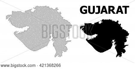 Polygonal Mesh Map Of Gujarat State In High Detail Resolution. Mesh Lines, Triangles And Dots Form M