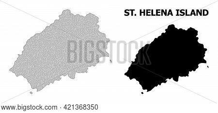 Polygonal Mesh Map Of Saint Helena Island In High Detail Resolution. Mesh Lines, Triangles And Point
