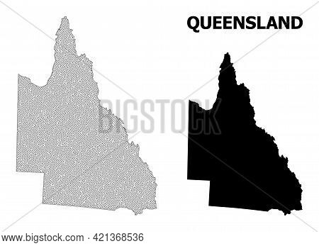 Polygonal Mesh Map Of Australian Queensland In High Detail Resolution. Mesh Lines, Triangles And Dot
