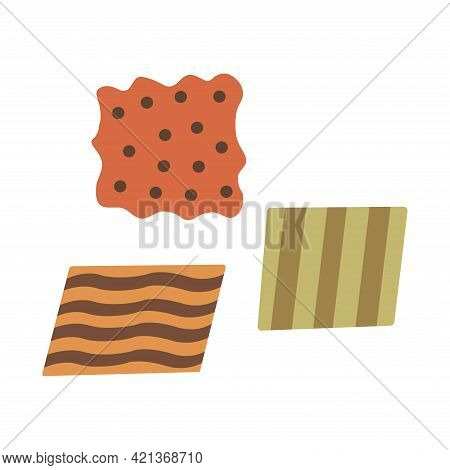 Pieces Of Fabric. Flaps. Colorful Hand Drawn Vector Illustration Isolated. Napkin Or Handkerchief