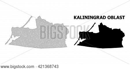 Polygonal Mesh Map Of Kaliningrad Region In High Resolution. Mesh Lines, Triangles And Dots Form Map