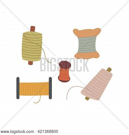 Set Of Spools Of Thread For Sewing. Colorful Vector Illustration In Hand Drawn Style Isolated. Sewin