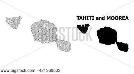 Polygonal Mesh Map Of Tahiti And Moorea Islands In High Detail Resolution. Mesh Lines, Triangles And