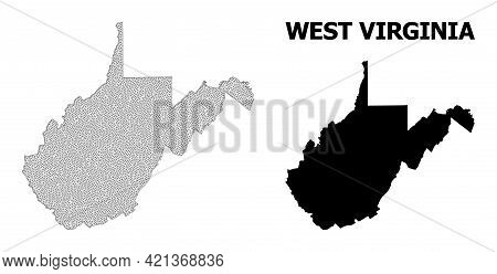 Polygonal Mesh Map Of West Virginia State In High Detail Resolution. Mesh Lines, Triangles And Dots