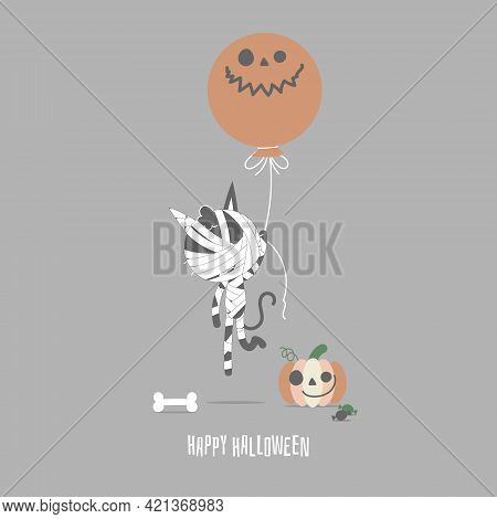 Happy Halloween Holiday Festival With Mummy Cat And Pumpkin, Flat Vector Illustration Cartoon Charac