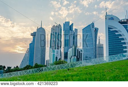 Doha, Qatar- 21 January 2021: Colorful Skyline Of Doha Qatar.