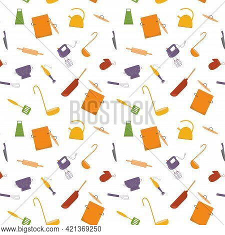 Seamless Pattern Cooking With Kitchen Tools, Cookware. Vector Stock Illustration On White Background