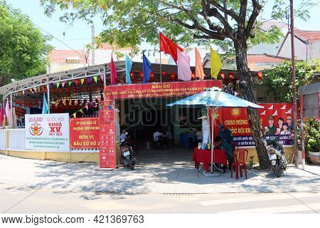 Hoi An, Vietnam, May 23, 2021: Polling Place In The Xv Parliamentary Elections In Hoi An, Vietnam