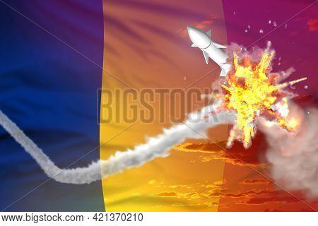 Romania Intercepted Supersonic Missile, Modern Antirocket Destroys Enemy Missile Concept, Military I