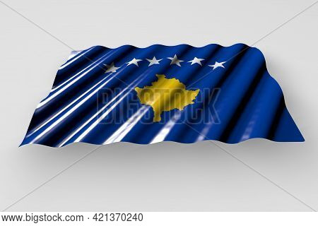 Pretty Any Occasion Flag 3d Illustration  - Shining Flag Of Kosovo With Large Folds Lying Isolated O