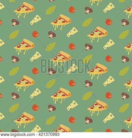 Seamless Pattern Wrapaper With Slice Pizza, Tomato And Mushroom For Pizzeria. Vector Italian Delicio