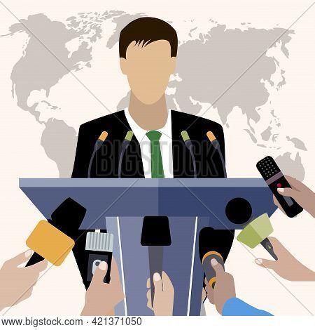 Press Conference Of President, Politician Speaker, Reporter Interview Public, Television Broadcastin