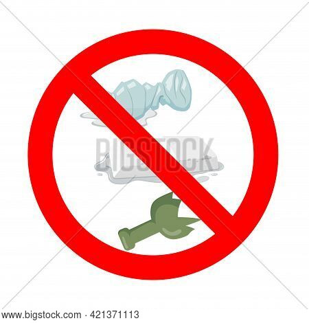 No Throw Away Waste. Vector Icon Warning And Forbidden, Dont Rubbish Away, Waste Discard, Stop Throw