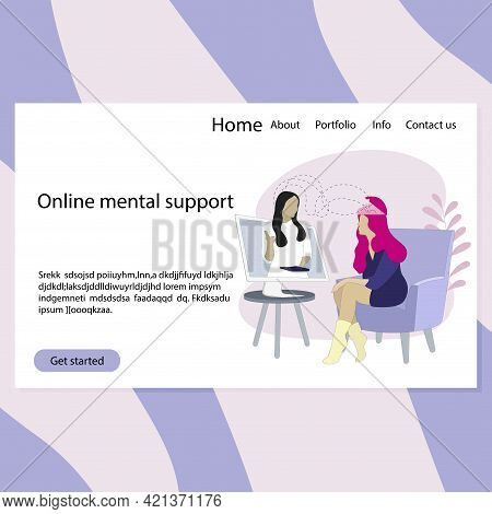 Online Therapy Psychology Landing Page, Virtual Session Mental, Helpline Support, Counseling And Adv