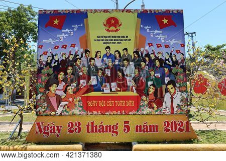 Hoi An, Vietnam, May 23, 2021: Poster Announcing The Xv Parliamentary Elections On A Street In Hoi A