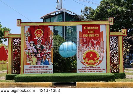 Hoi An, Vietnam, May 23, 2021: Poster Announcing The Xv Parliamentary Elections In A Square In Hoi A