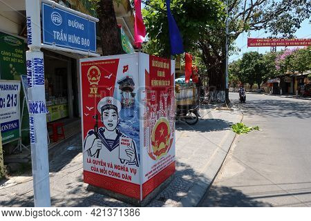 Hoi An, Vietnam, May 23, 2021: Poster Announcing The Xv Parliamentary Elections On Tran Hung Dao Str