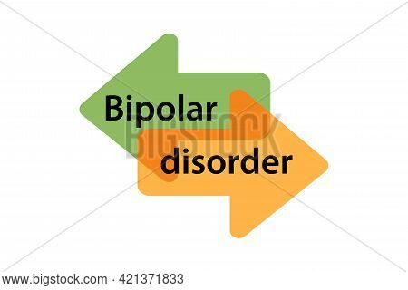 Bipolar Disorder, Mental Disorder Flat Design.two-faced. Split Personality. The Concept Of Mood Diso