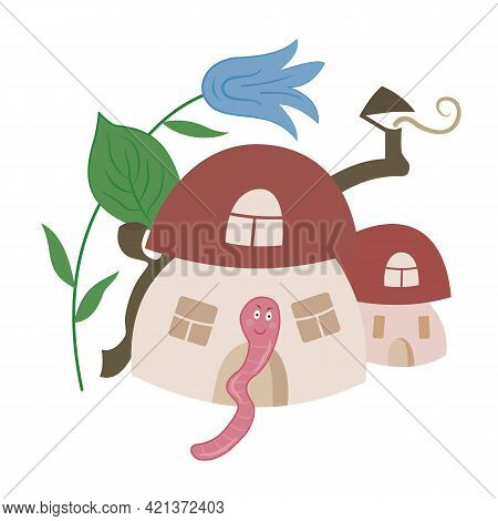 House For The Worm. Wild Boletus Mushroom, Bell Flower, Cute Pink Worm. Home Comfort, Forest. Hand-d