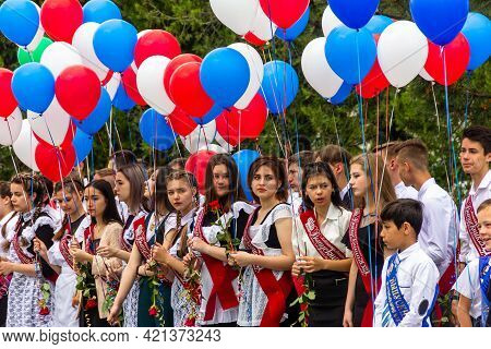Maikop, Russia - May 22, 2021: Solemn Meeting Last Bell For Graduates In A Russian School, School Gr