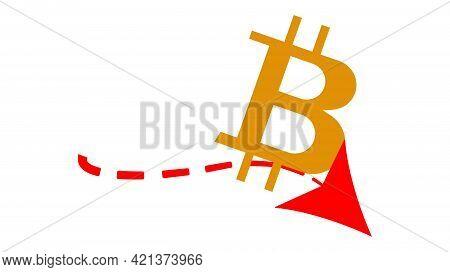 Simple Vector. Red Arrow With Bitcoin Symbol. Financial Crisis Concept. Bitcoin Depreciation. Fallin