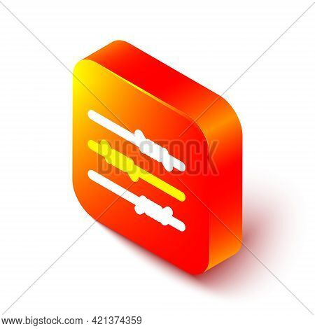 Isometric Line Barbed Wire Icon Isolated On White Background. Orange Square Button. Vector Illustrat