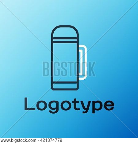 Line Thermos Container Icon Isolated On Blue Background. Thermo Flask Icon. Camping And Hiking Equip