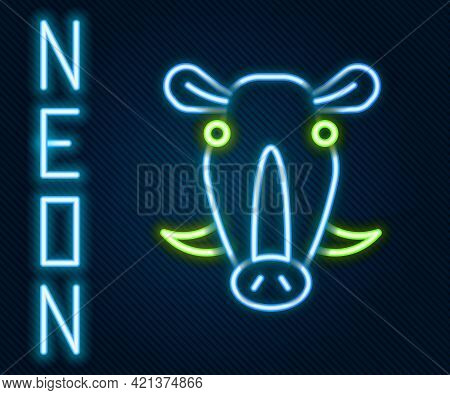 Glowing Neon Line Wild Boar Head Icon Isolated On Black Background. Animal Symbol. Colorful Outline