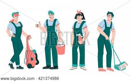 Team Of Cleaners And Janitors Male And Female Characters, Cartoon Vector Illustration Isolated On Wh