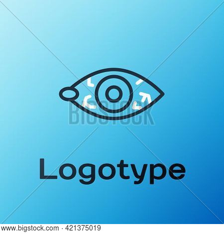 Line Reddish Eye Due To Viral, Bacterial Or Allergic Conjunctivitis Icon Isolated On Blue Background