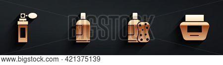 Set Perfume, Bottle Of Shampoo, Bottle Of Shampoo And Sponge And Cream Or Lotion Cosmetic Tube Icon