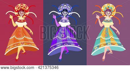 Calavera Catrina Dancer - Isolated Vector, Full Body Picture. Dia De Los Muertos, Skeleton Woman Cha