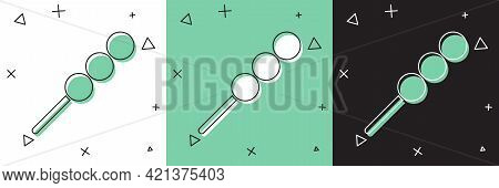Set Meatballs On Wooden Stick Icon Isolated On White And Green, Black Background. Skewer With Meat.