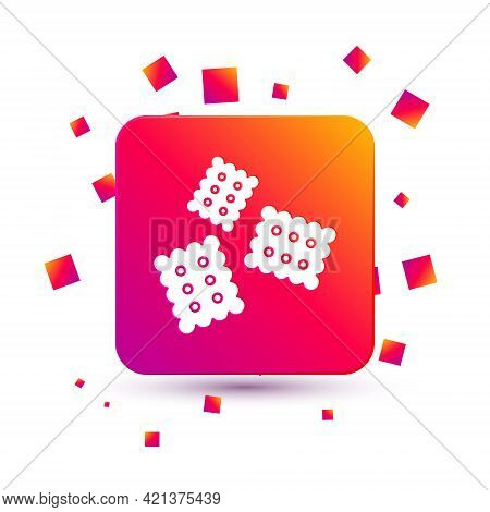White Cracker Biscuit Icon Isolated On White Background. Sweet Cookie. Square Color Button. Vector I