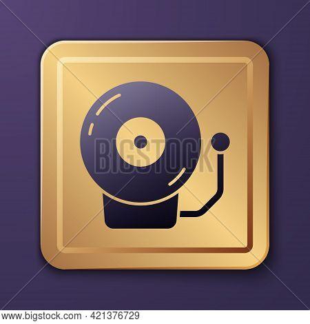 Purple Ringing Alarm Bell Icon Isolated On Purple Background. Alarm Symbol, Service Bell, Handbell S