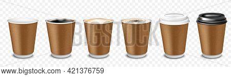 A Set Of Paper Disposable Cups For Coffee, Latte, Cappuccino, Espresso, Americano, Cocoa. Cups With