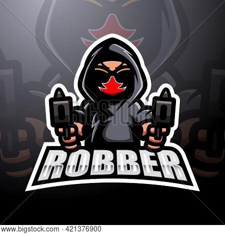Vector Illustration Of Robber Shooter Mascot Esport Logo Design