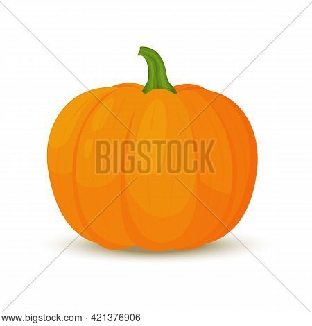 Pumpkin Icon In Flat Style. Isolated Object. Pumpkin Logo.vegetable From The Farm. Organic Food. Vec
