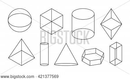 Volumetric Basic Geometric Shapes. Black Linear Simple 3d Figure With Invisible Shape Lines. Isometr